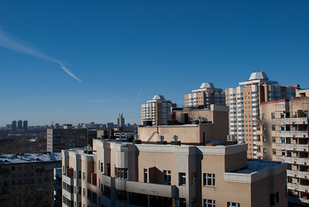 Roofs of new buildings in Moscow